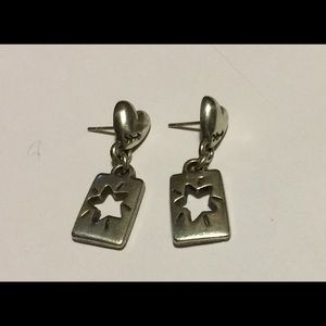 Brighton silver post earrings with cut out stars