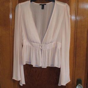 Pale Peach Long Sleeve Blouse Overshirt
