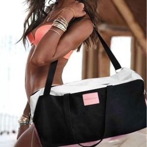 NWT Victoria's Secret Black Pink White Duffle Bag