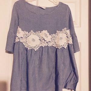 Super cute ruffle sleeve top with lace detail