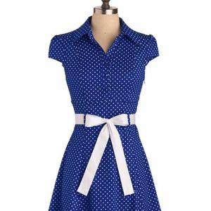 """ModCloth retro """"hepcat"""" blue/white polka dot dress"""