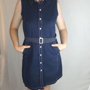 Isaac Mizrahi Target Sleeveless Belted Navy Dress