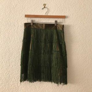 Twelve by twelve Green fringe skirt