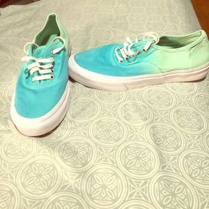 Turquoise to green ombré vans. Size 8