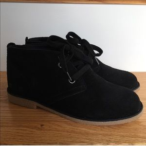 Lucky Brand Black Suede Booties Chukka Lace Up 6