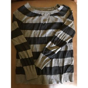 Gray Black stripe lightweight sweater