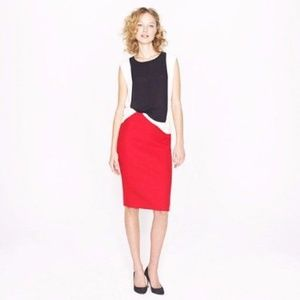 J. Crew Wool Blend Lined Red Pencil Skirt Size 14