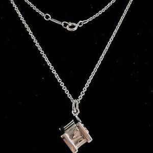 Authentic Tiffany & Co Silver Atlas Cube necklace