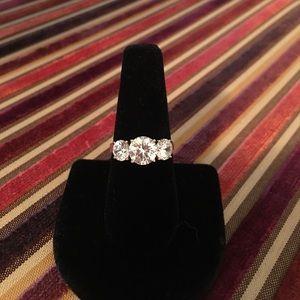 14K Diamonique Three-Stone Ring