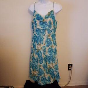 Ann Taylor floral dress spaghetti straps silk