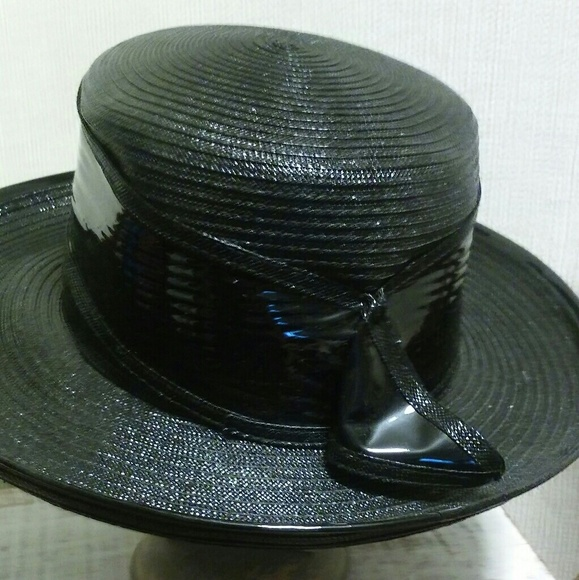 91b6bc0a Accessories | Black Straw Hat With Patent Like Band 1960 | Poshmark