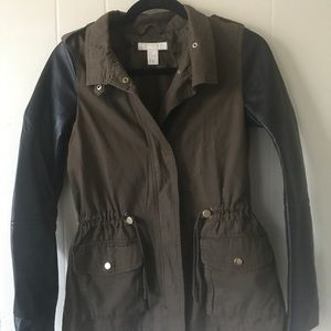 H&M mixed media cargo and leather jacket