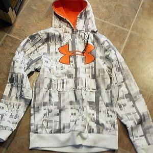 Under armour hoodie grey/white/Orange small