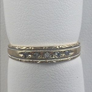 10kt gold and diamond band/ ring