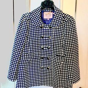 Juicy Couture Jacket Size Small Navy Polka Dot