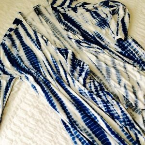 h&m | blue and white tie-dye cardigan