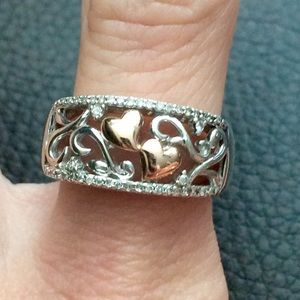 14k Rose Gold Diamond 925 Sterling Silver ring