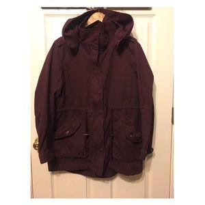 Maroon hooded parka 😊