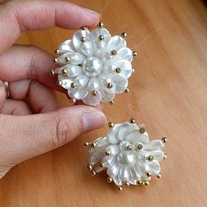 Vintage statement faux pearl flower earrings