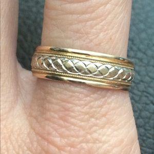 14k Gold two toned wedding band diamond cut ring