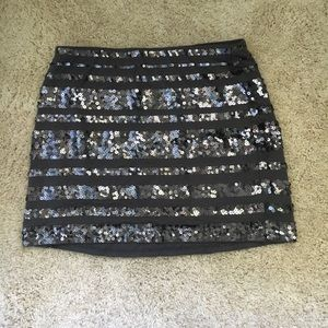 High waisted sequin mini skirt