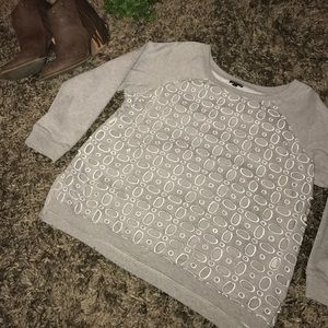 Grey sweater with cute cut out holes!!!