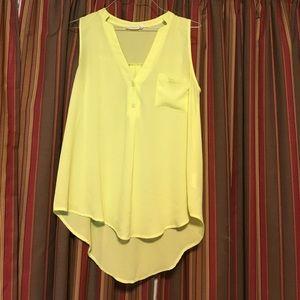 Francesca's sheer neon yellow sleeveless top