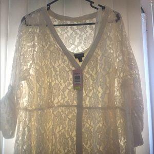 Torrid cream colored knee length lace dress