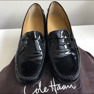 Cole Haan Ryann Black Patent Leather Penny Loafers