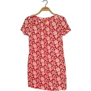 Tory Burch Red and Pink Floral Short Sleeve Dress