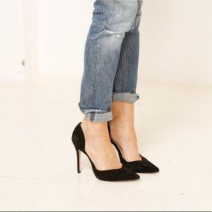 Zara Pointed toe black suede heels size 9