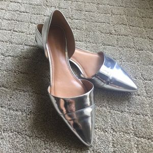 J. Crew silver d'orsay pointy toe flat