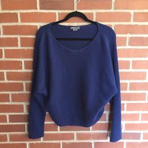 Vince Dark Blue Cotton Knit Scoop Neck Sweater