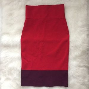 EXPRESS Red Purple Bandage Skirt Sz XS