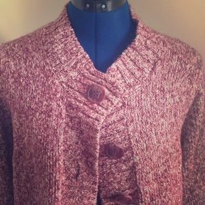 Craft & Barrow Mauve Pink Button Up Sweater