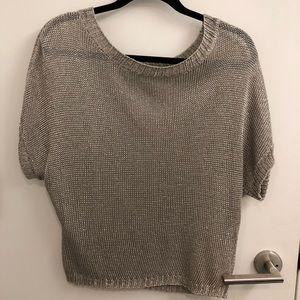 Vince silver metallic knit sweater size M