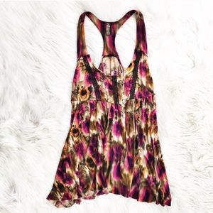Free People floral and lace racerback tank