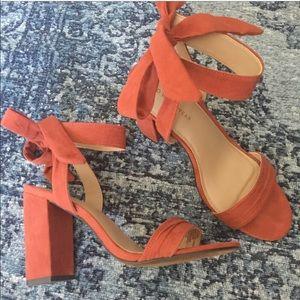Orange block heel with bow sandal