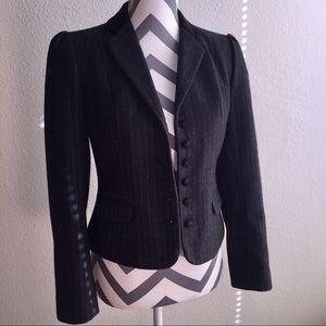 J. Gallery black pinstripe suit wool jacket Sz 6/7