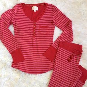 Victoria's Secret 2pc Red Stripe Pajama PJ Set