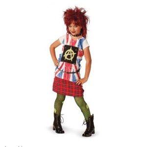NEW Girls 80's Punk Rocker Rebel Halloween Costume