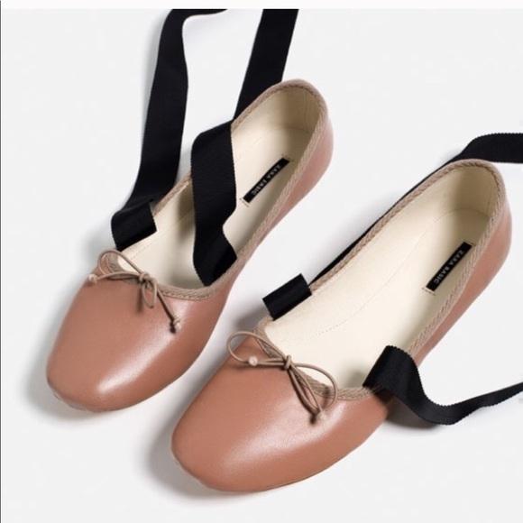 9acf4b8245 Zara Shoes | Ankle Ribbon Tie Ballerina Flats 712 38 | Poshmark