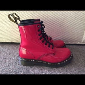 Dr. Martens patent red boot