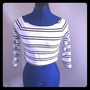 Forever 21 Belly Striped Shirt Black and White
