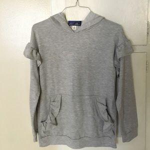 grey ruffle sleeve shirt w/ hood