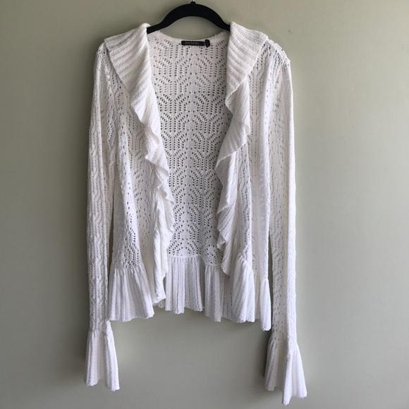 Sweaters Ruffle Knit Bell Sleeve Cardigan Sweater Poshmark