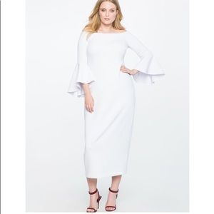 Eloquii White Off the Shoulder Flare Sleeve Gown