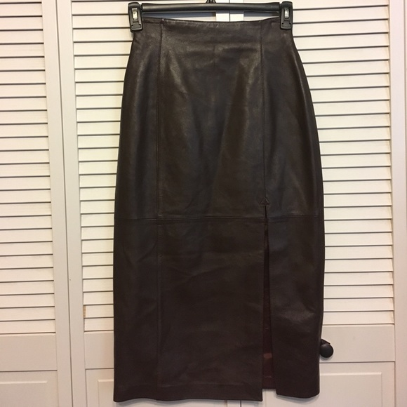 e6aca7bfa0 evan davies Skirts | Brown Leather Pencil Skirt | Poshmark