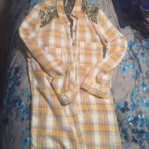 Free people beautiful sequined flannel