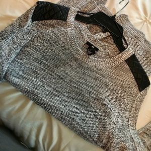 H&M Sweater-Leather Shoulders
